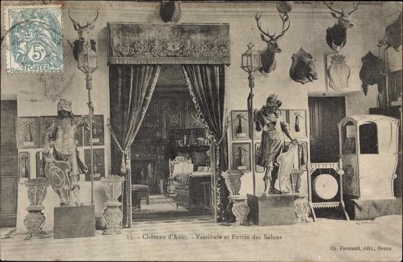 Ak Anet Eure et Loir, Château d'Anet, Vestibule et Entrée des Salons