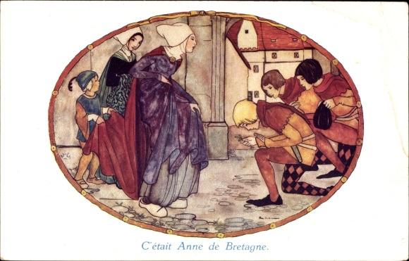 Passepartout Künstler Ak C'était Anne de Bretagne, Kniefall vor einer Dame
