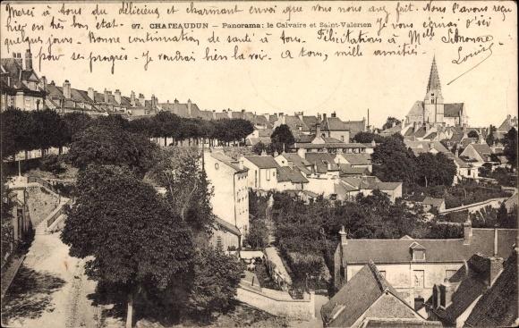 Ak Châteaudun Eure et Loir, Panorama, le Calvaire et Saint Valérien