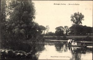 Ak Arnage Sarthe, Ile sur la Sarthe, Ruderboot auf dem Fluss, Insel