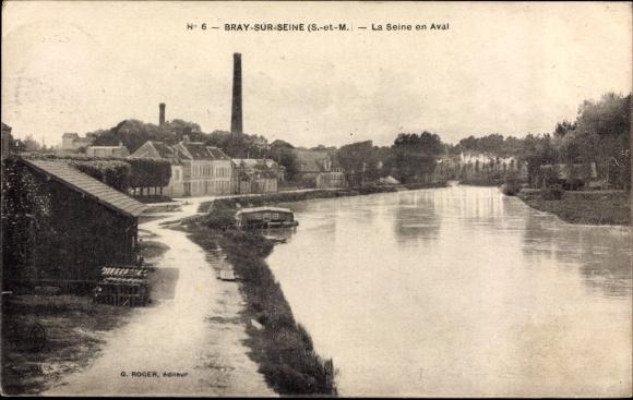 Ak Bray sur Seine Seine et Marne, La Seine en Aval, Fluss, Ortschaft