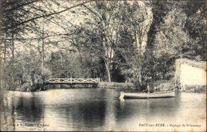 Ak Pacy sur Eure, Paysage de Printemps, Flusspartie mit Brücke, Ruderboot