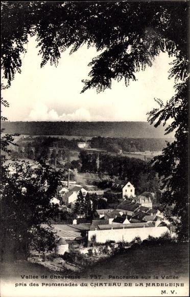 Ak Chevreuse Yvelines, Vallée de Chevreuse, Panorama du Chateau de la Madeleine