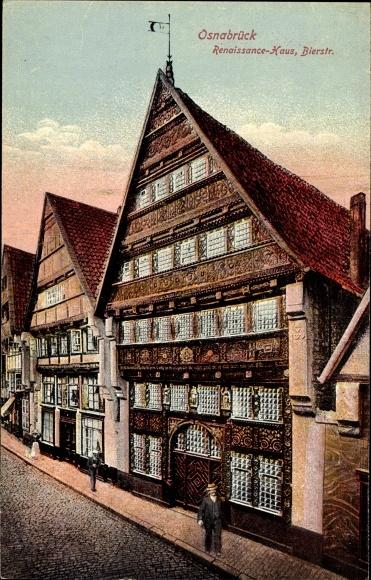 Ak Osnabrück, Blick auf Renaissance Haus, Bierstraße, Passant