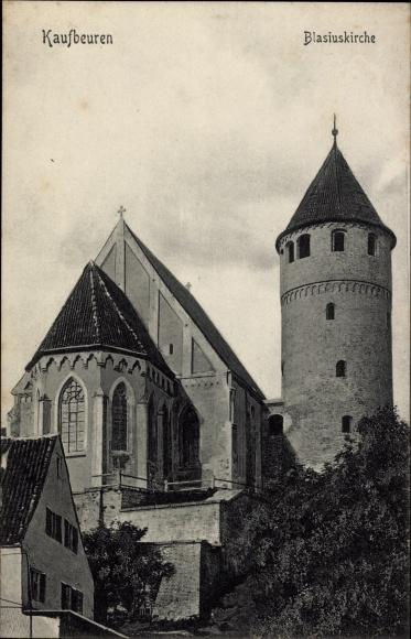 Ak Kaufbeuren am Wertach in Schwaben, Blick auf die Blasiuskirche