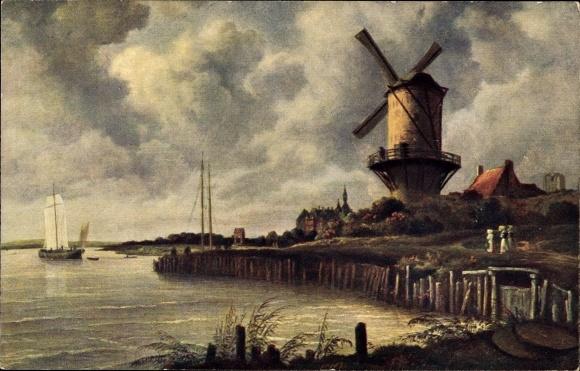 Künstler Ak von Ruisdael, Jacob, Wijk bij Duurstede Utrecht, Windmühle