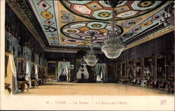 Ak Tunis Tunesien, Le Bardo, La Salle des Fêtes, Festsaal, Kronleuchter