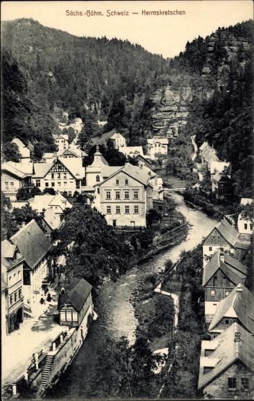 Ak Hřensko Herrnskretschen Elbe Reg. Aussig, Ort, Fluss, Felswand