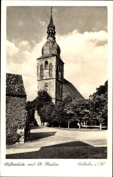Ak Nottuln im Münsterland, Stiftsplatz mit St. Martin, Straßenpartie