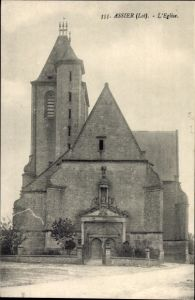 Ak Assier Lot, L'Èglise, Ansicht der Kirche, Glockenturm