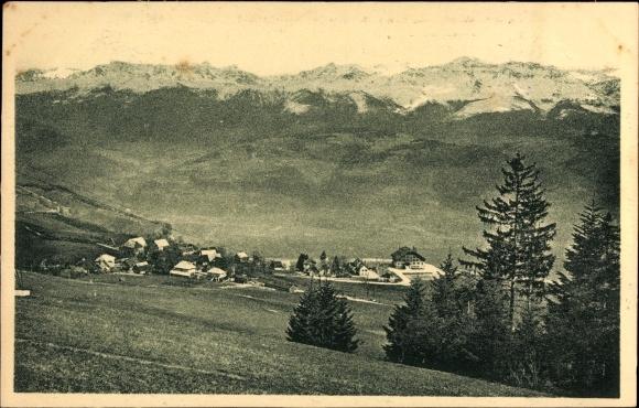 Ak Saint Hilaire du Touvet Isère, Dauphine, Vue générale, Chaîne des Alpes