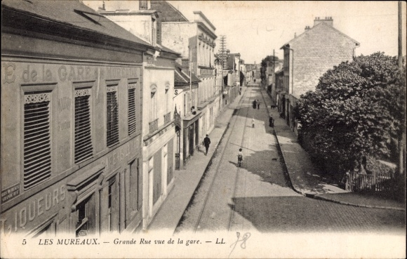 Ak Les Mureaux Yvelines, Grande Rue vu de la gare, Straßenpartie