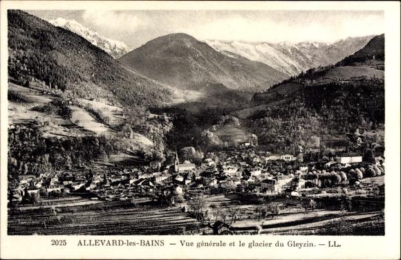Ak Allevard les Bains Isère, Vue générale et le glacier du Gleyzin