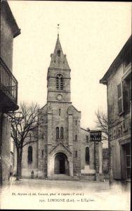 Ak Limogne Lot, L'Église, Ansicht der Kirche, Geschäft
