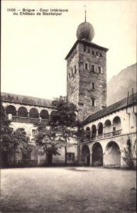 Ak Brigue Brig Glis Kt. Wallis, Cour intérieure du Château de Stockalper