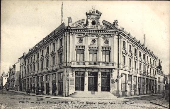 Ak Tours Indre et Loire, Théâtre Francais, Rue Victor Hugo et Georges Sand
