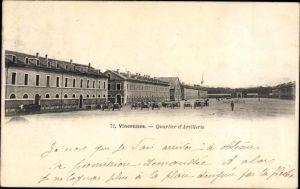 Ak Vincennes Val de Marne, Quartier d'Artillerie, Militärbaracken