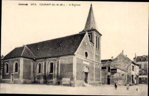 Ak Champ Seine et Marne, L'Église, Ansicht der Kirche