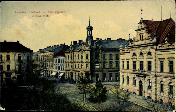 Ak Hradec Králové Königgrätz Stadt, Jirikova trida, Straßenpartie, Häuser