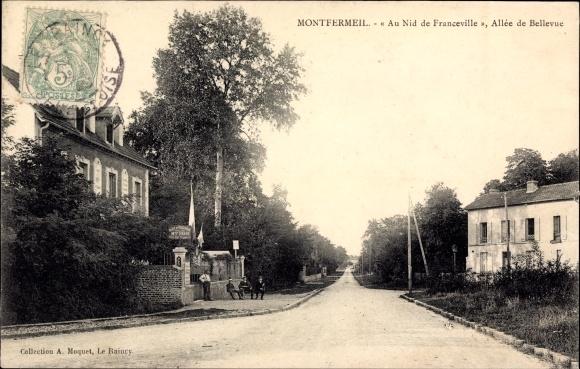 Ak Montfermeil Seine Saint Denis, Au Nid de Franceville, Allee de Bellevue