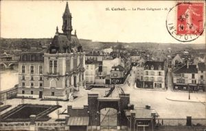 Ak Corbeil Essonne, la Place Galignani, Blick auf das Rathaus