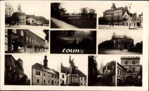 Ak Louny Ústí nad Labem Aussig Elbe Stadt, Denkmal, Kirche, Markt