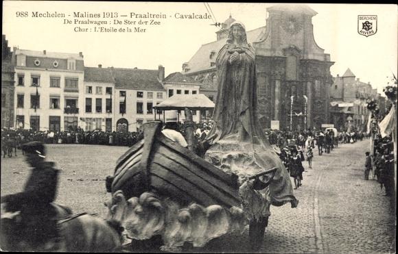 Ak Mechelen Malines Flandern Antwerpen, Praaltrein, Cavalcade, de Praalwagen