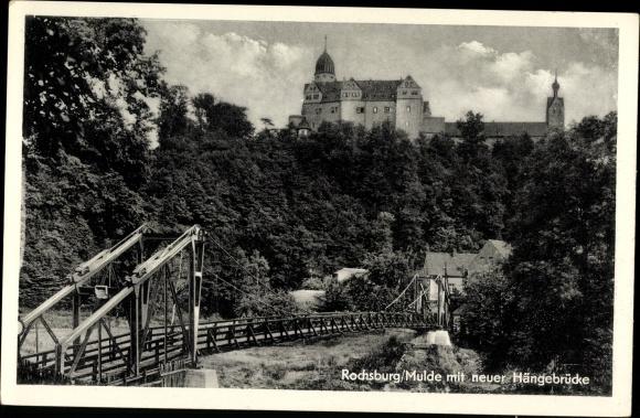Ak Rochsburg Lunzenau in Sachsen, Neue Hängebrücke über die Mulde