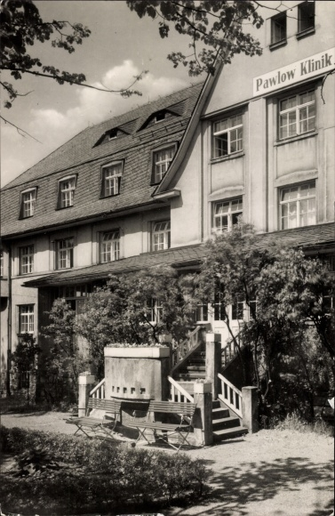 Ak Augustusburg im Erzgebirge, Treppe der Pawlow Klinik, Vorderseite