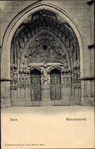 Ak Bern Stadt Schweiz, Blick auf das Münsterportal