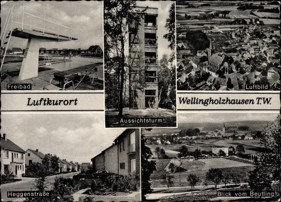 Ak Wellingholzhausen Melle in Niedersachsen, Freibad, Heggenstraße, Beutling