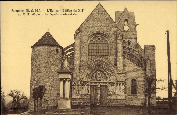 Ak Rampillon Seine et Marne, L'Eglise, Edifice du XIIe au XIIIe siecle, facade