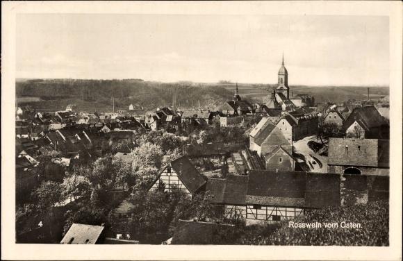 Ak Roßwein im Mittelsächsischen Bergland, Blick auf den Ort von Osten