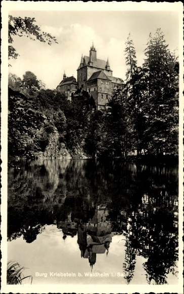 Ak Kriebstein Sachsen, Blick zur Burg Kriebstein,Gaststätte Talsperre Kriebstein