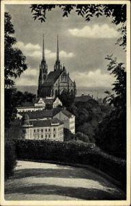 Ak Brno Brünn Südmähren, Blick zum St. Petersdom, Promenade, Petrov