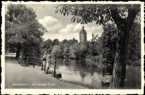 Ak Delitzsch in Nordsachsen, Flusspartie mit Blick zum Halleschen Turm