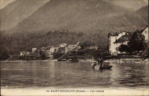Ak Saint Gingolph Kt. Wallis, Lac Léman, Genfersee, Ruderboot