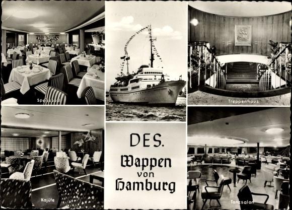 Ak DES Wappen von Hamburg, Otto Friedrich Behnke Betrieb, Kajüte, HAPAG