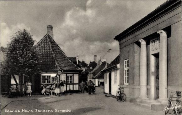 Ak Odense Dänemark, Hans Jensens Straede, Straßenpartie