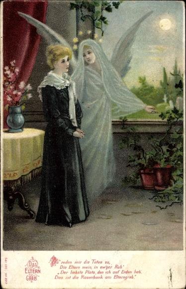 Litho Das Eltern Grab, trauernde Frau, Engel, Sonnenschein