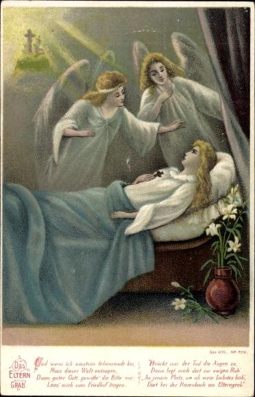 Litho Das Eltern Grab, sterbende Frau, Engel am Sterbebett