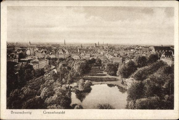 Ak Braunschweig in Niedersachsen, Totalansicht der Ortschaft, Teich