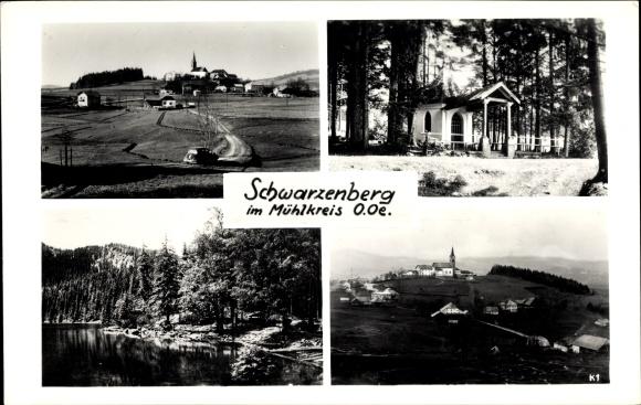 Ak Schwarzenberg am Böhmerwald in Oberösterreich, Blick auf den Ort, Kapelle