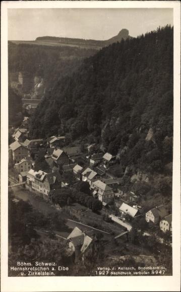 Ak Hřensko Herrnskretschen Elbe Reg. Aussig, Ort und der Zirkelstein