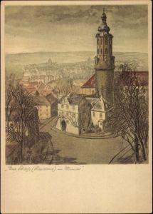 Künstler Ak Weimar Thüringen, Blick auf die Stadt mit Schloss, Residenz