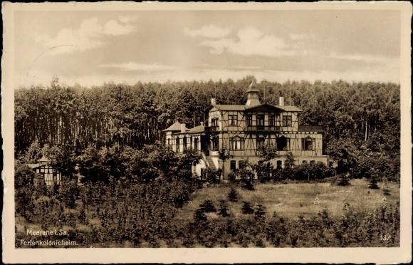 Ak Meerane in Sachsen, Blick auf das Ferienkolonieheim, Fachwerkhaus