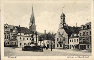 Ak Wilsdruff in Sachsen, Marktplatz mit Kriegerdenkmal, Schänke Alte Post