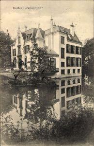 Ak Ermelo Gelderland, Kasteel Staverden, Schloss am Wasser gelegen