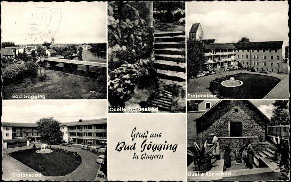 Ak Bad Gögging Neustadt an der Donau Niederbayern, Trajansbad, Quelle Römerbad
