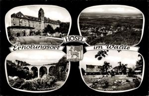 Wappen Ak Hösel Ratingen im Kreis Mettmann, Waldklinik, Autobahnbrücke
